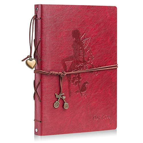Minlna Album de Fotos DIY para Pegar Álbum Scrapbooking Libros de Firmas Cuero Vintage Originales Presente para Cumpleaños de la Navidad Boda para Las Mujeres Hombres (Girl- Rojo Grande)