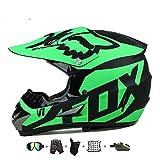 Casco Moto niño,Casco Motocross niño Moto Set con Gafas/Máscara/Guantes Casco Motocross (6unidades) Apto para Cuatro Estaciones (F, 55-56CM)