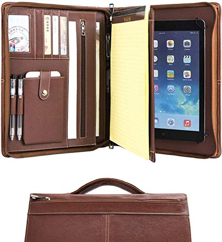 Handmade Leather A4 Conference Folder Zipped for New iPad Pro 10.5 and iPad Pro 11' 2018/2020, Business Organizer Case with Retractable Handle and Writing Pad
