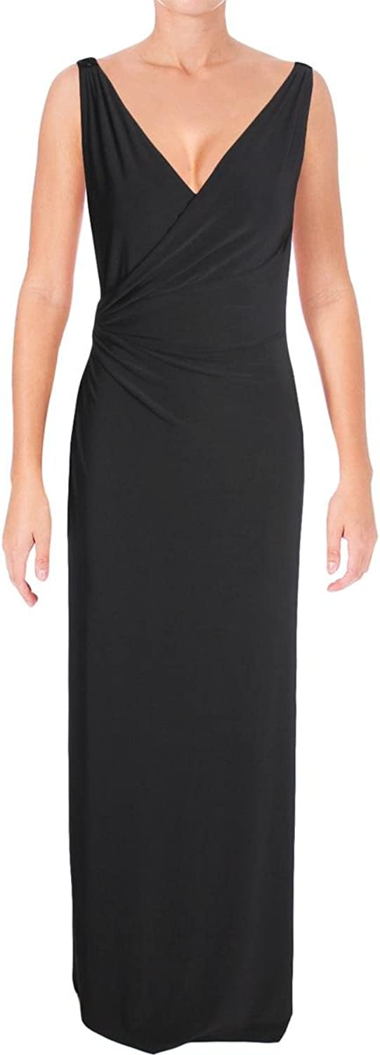 Lauren Ralph Lauren Womens Matte Jersey Faux Wrap Evening Dress