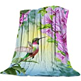 Singingin Ultra Soft Flannel Fleece Bed Blanket Hummingbird and The Flowers Throw Blanket All Season Warm Fuzzy Light Weight Cozy Plush Blankets for Living Room/Bedroom 60x80in