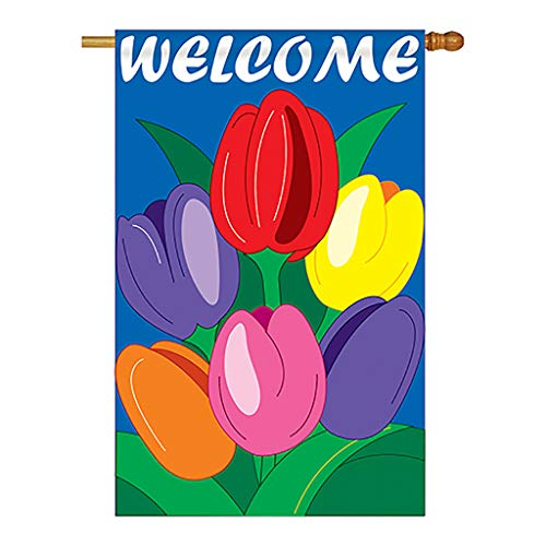Two Group - Welcome Tulips Spring - Everyday Floral Applique Decorative Vertical House Flag 28' x 44'