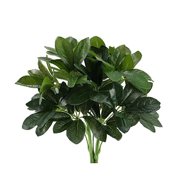 GTIDEA Artificial Shrubs Plants Fake Silk Schefflera Bushes Real Touch Faux Greenery Leaf Arrangements Indoor Outdoor Garden Office Home Table Centerpieces Wall Hanging Décor 2pcs