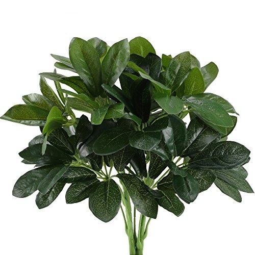 HUAESIN 2pcs Künstliche Pflanzen Deko Kunstpflanzen Außenbereich Künstlich Balkonpflanzen mit Grün Blätter Plastik Grünpflanze für Balkon Garten Outdoor Topf Hochzeit Zuhause Dekoration