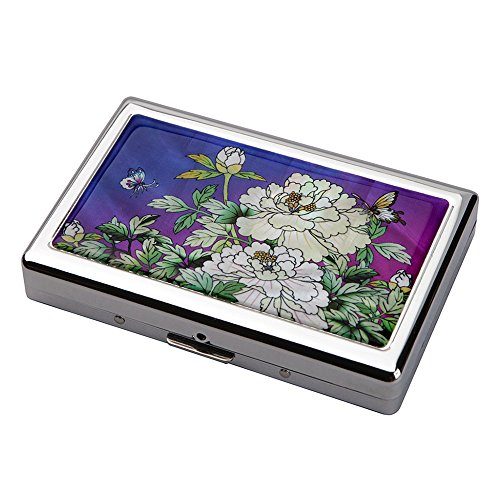 Mother of Pearl Purple Peony Flower Extra Long 100S Super Slim King Size 16 Cigarette Engraved Metal Steel RFID Blocking Protection Credit Business Card US Bill Currency Cash Holder Case Storage Box