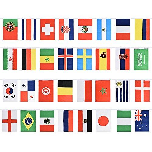 TOPSALE Banderas Nacionales de Futbol Verderon de Rusia Guirnalda Decoracion de Fiesta para Copa Mundial Popular