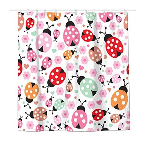 Duschvorhang Marienkäfer Blume Wasserdicht Polyester Stoff Duschvorhang für Badezimmer mit 12 haltbaren Kunststoffhaken 182 x 182 cm