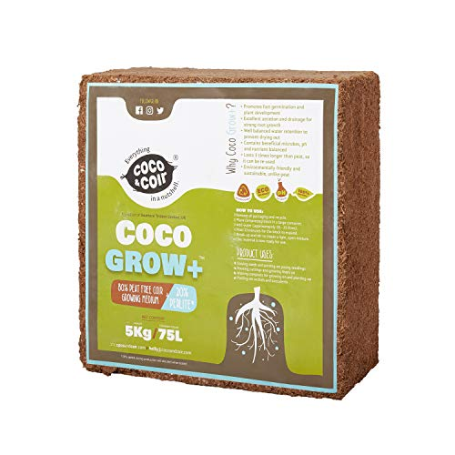 Coco Coir con Perlite - 5KG (70L) | Coir Perlite Mix | 100% Natural Growing Media | Planting Coco Soil | Compresor de Coco | Coconut Coir Bricks | 80% Coir – 20% Perlite