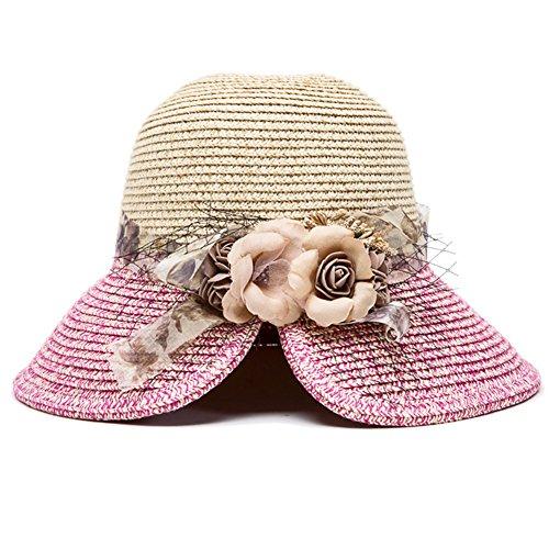 WeiMay Sombrero de Paja Plegable Beach Sun Cover Visor Facial Sombrero de ala Ancha Transpirable para Mujeres y niñas (Rose Rouge)