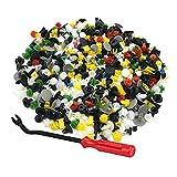 500 piezas Clips Remaches Auto,Sujetador de parachoques, clips de sujetadores automáticos universales con destornillador, abrazadera de ajuste de remache de nylon de plástico