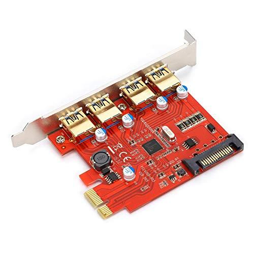 Goshyda Tarjeta de expansión de 4 Puertos, PCI-E a USB 3.0 Tarjeta adaptadora de Tarjeta de expansión PCI de Alta Velocidad con Puerto de alimentación SATA, para NEC Master Control D720201