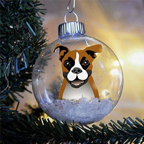Boxer Christmas Ornament Personalized Bulb Dog Present Faun White Muzzle Natural Ears Memorial Christmas Ball Ornaments Shatterproof Christmas Decor Tree Balls for Holiday Wedding Party Decor