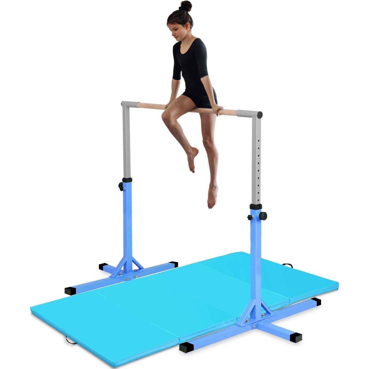 Amazon.com : Costzon Junior Training Bar, Gymnastics Adjustable Steel Gymnastic Horizontal Bar with 4 ft Gymnastics Mat (Blue) : Sports & Outdoors