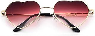ShSnnwrl Único Gafas de Sol Sunglasses Gafas De Sol De Metal con Forma De Corazón De Tendencia para Mujer, Gafas De Sol Rojas con