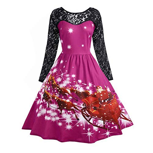 OverDose Damen Frohe Weihnachten Stil Frauen Vintage Print Langarm Weihnachten Abend Party Cosplay Elegante Slim Swing Kleid Geschenk(Y-Hot pink,XL)