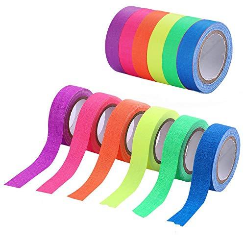 UV-Schwarzlicht-Reaktivband, fluoreszierende Gewebebänder, selbstklebendes , Spike, die im Dunkeln leuchten, für Partybedarf, Whiteboard-Kunsthandwerkdekorationen Böden (6 Rollen)