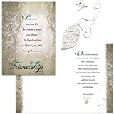 Smiling Wisdom - Silver Leaf, Long Chain Necklace Statement Jewelry - A Reason Season Lifetime Friendship Greeting Card Gift Set - Her BFF Woman Best Friend – .925 Silver Plated - Silver