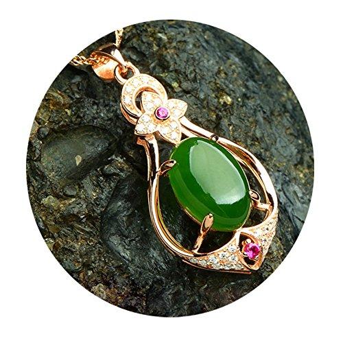 AIUIN Ketting Mode Vrouwen Elegant Verzilverd Rose Goud Inlaid Jasper Natuurlijke Jade Hanger (Groen), Met een Sieradenzak