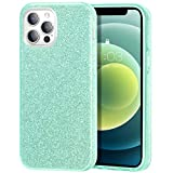 zelaxy Case Compatible with iPhone 12 Pro Max, Protective 3 Layer Anti-Slick Slim Bling Sparkly Glitter Cover for iPhone 12 Pro Max 6.7 inch (Green)