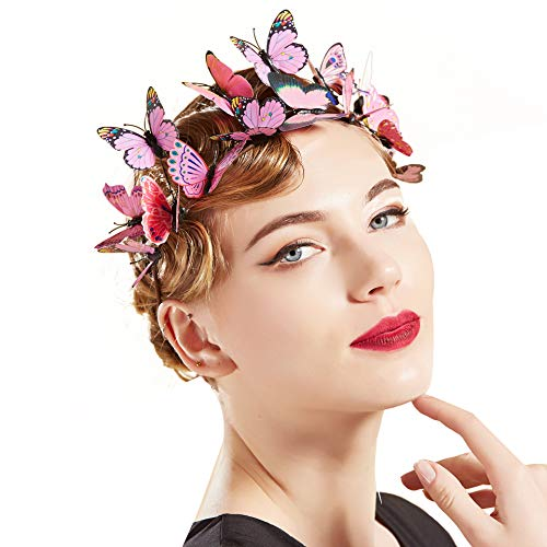 Coucoland Schmetterlings Stirnband Mädchen Hochzeit Party Stirnband Exquisit Schmetterling Haarband Cocktail Tee Party Damen Fasching Kostüm Accessoires (Pink)