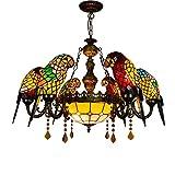 Tiffany Lampadario in Stile Pappagallo, Vintage Creativo Soffitto 8-Light Hanging Lampade Con Paralume in Vetro Colorato, Soggiorno Sala Da Pranzo Cafe Pendant Light Fixtures