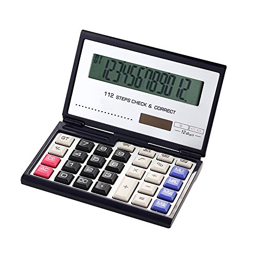 Business/Office/Student/Folding Calculator with 12-Digits Large Display,Solar and AAA Battery Dual Power