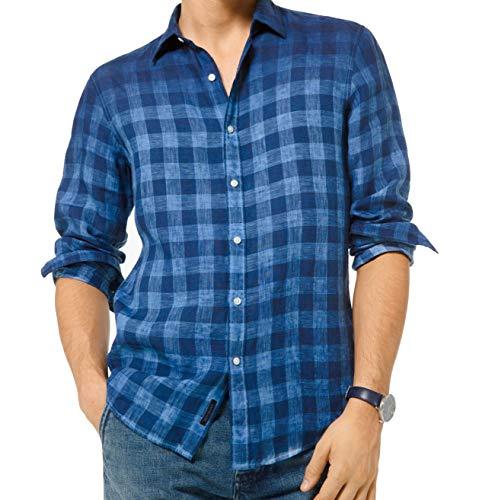 Michael Kors Camisa de botón Ombre para hombre - azul - Small