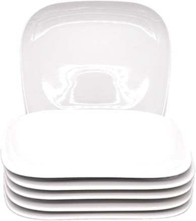 Preisvergleich für Kahla 15G110A90015C Elixyr Geschirr XXL Tellerset Porzellan Teller 6-teilig Speiseteller für 6 Personen flach Teller eckig weiß Essteller ohne Dekor