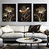 Avdgfr HD Printed on Canvas-[3PCS Nordic Golden Flowers Simple] Canvas Wall Art-Personalised Family Picture Photo Print Wall Art 40X60cm 3PCS Frameless