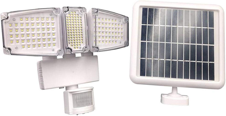 Solarleuchte für den Auenbereich, 178 LED superhell, happy event Solarleuchte mit Bewegungsmelder 120 °, IP44 wasserdicht, für Garten, Garage, Balkon, Hof etc. (Wei)