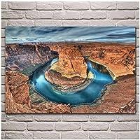 Qqwer ホースシューベンドグランドキャニオン国立公園の川の風景ポスターキャンバス絵画壁アート写真リビングルーム装飾-60X90Cmx1Pcs-フレームなし