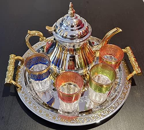 Juego completo de té marroquí Completo, Tetera con Filtro Integrado 1.2L + Bandeja 42cm plateada redonda con asas y 4 Vasos de cristal