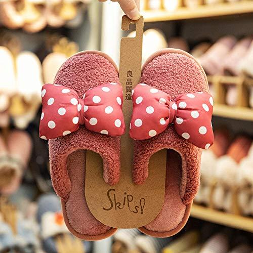 Nwarmsouth Zapatos de casa con Suela de Goma antideslizan,Calientes y Lindos Zapatos de algodón, Zapatillas de Interior de Lana Antideslizantes-Cuero Rojo_38-39,Interior Casa Caliente Slippers Suave