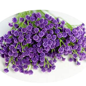 Silk Flower Arrangements 40Cm Real Touch Artificial Baby Breath Wreath Flower PU Decor for Wedding Home Table Party Fake Flowers 3 Colors Purple