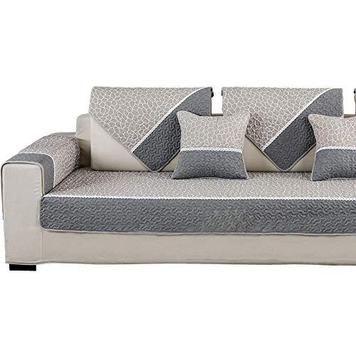 YUTJK Serviette de canapé de Tissu de Coton antidérapant,Couverture Canapé d'angle Antidérapant, Protecteur canapé pour Enfant Chien Chat,Beige_70×180cm