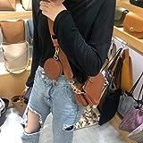 Mdsfe Moda Color sólido PU Cuero Hombro Messenger Bag Casual Crossbody Bolsos Mujer Bolsos Totes Bag 3 Sets Evening Clutch Purse - marrón