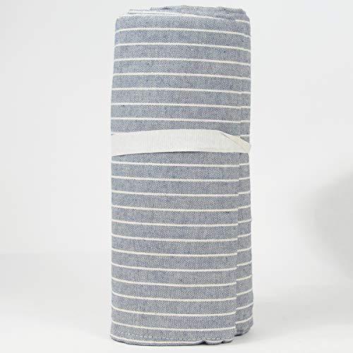 R.P. Colcha decorativa cubrecamas de algodón natural a rayas Millerighe Made in Italy algodón granfoulard 1 plaza/2 plazas matrimonial/maxi 1 plaza 160 x 280 cm azul