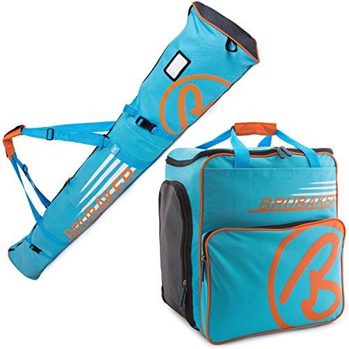 Brubaker Conjunto 'Super Champion 2.0' Bolsa para Botas y Casco de ski Junto a 'Carver Champion 2.0' Bolsa para un par de Ski - Azul/Naranja - 170 cms. ó 190 cms.