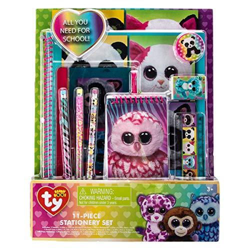 TY Beanie Boos 11 Piece Stationary Set Folders Pencils Notebook