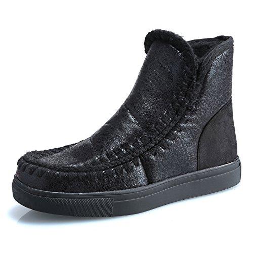 MForshop Scarpe Donna Stivaletti Stivali Pelliccia Winter Boots Scarponi Laminati Y1729 (39, Nero)