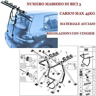 TETTO VETRO//WITHOUT GLASS ROOF 5P 08-15 PORTA BICI CARICO MAX 45KG PORTABICI POSTERIORE AUTO 3 BICI COMPATIBILE CON PEUGEOT 3008 ESCL
