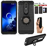 Wireless Accessories Phone Case Compatible with Tracfone Alcatel TCL A1X Case/TCL A1X A503DL Case/Onyx Case Shock Absorbing Slim Cover Ring-Holder (Slim Ring Black)