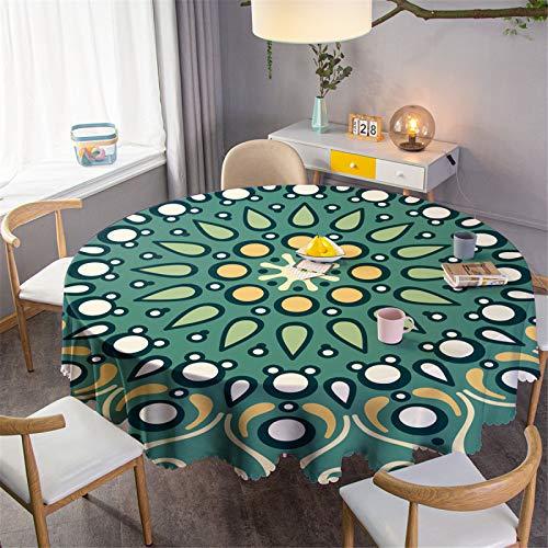 CCBAO Runde Tischdecke Mit 3D-Effekt, Wasserdichtes Haushaltsrestaurant Aus Polyester, Runde Tischdecke, Couchtischdecke Durchmesser 160 cm
