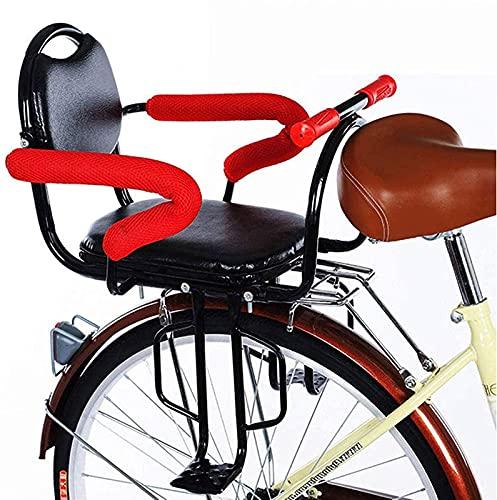 RVTYR Asiento trasero de bicicleta para bebé con cojín y reposamuñecas/pedales de pie, valla desmontable para bicicleta de niño asiento trasero de seguridad de asiento de sillín de sillín de bicicleta