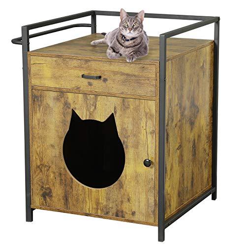 MSMASK Katzentoilette mit Schublade und Tür, Katzenhöhle Entlüftung, eräumiger Katzenschrank Katzenhaus Schlafhaus für große und kleine Katzen, stabile, Beistelltisch, Nachtschrank (Vintage)