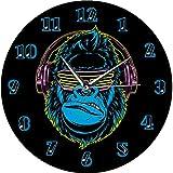 壁掛け時計 掛け時計 おしゃれ 置き時計 北欧 連続秒針 ヘッドフォンで音楽を聴いている面白いゴリラ現代の壁時計サイレント非カチカチリビングルームの壁時計スタイリッシュなDjの家の装飾 おしゃれ