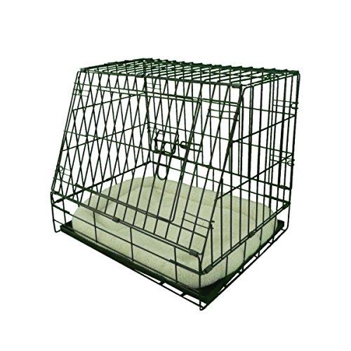 Ellie-Bo Deluxe kooi voor hondenwelpen, opvouwbaar, met niet koel metalen blad, fleece kussen en schuine voorzijde voor veilig autotransport, maat S, 61°cm, zwart