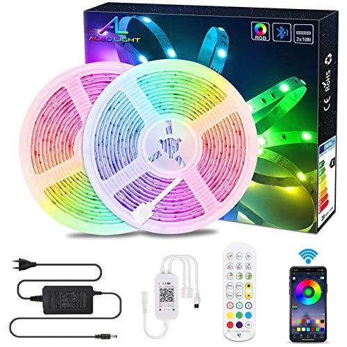 20M RGB LED Streifen Bluetooth,ALED LIGHT LED Strip Lichtband 5050 600 LED Stripes App Sync mit Musik Flexible LED Leiste Bänder Strips mit Fernbedienung LED Band Lichterkette Lichtstreifen Dekoration