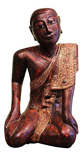 Sitzender Mönch Buddha aus Holz geschnitzt Mandalay Buddha Figur | Holzfigur