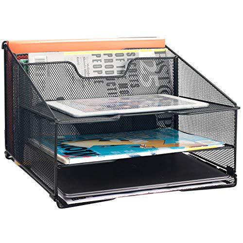 Samstar Mesh Desk File Organizer Letter Tray Holder Desktop File Folder Holder with 3 Paper Trays and 2 Vertical Upright Section Black